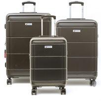 American Travel - סט 3 מזוודות קשיחות בצבע אפור כהה
