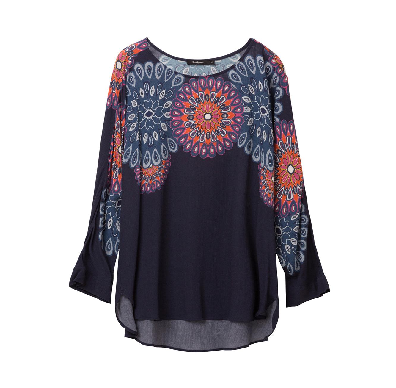 חולצת אוברסייז בהדפס מנדלה Blassidy לנשים - כחול כהה