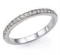 טבעת יהלומים עדינה וזוהרת משובצת יהלומים לבנים קטנים 14 קראט בצבעים לבחירה