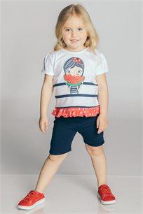 חליפת טריקו בהדפס ילדה עם אבטיח בשילוב מלמלה לבנות Kiwi בצבע כחול כהה/לבן