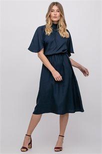 שמלת מידי בגוון כחול נייבי עמוק