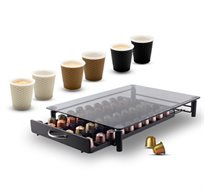 מגירה ל-60 קפסולות Nespresso +  שישיית כוסות אספרסו
