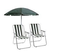 זוג כיסאות מתקפלים + שמשיה גדולה בקוטר 2 מטר Camptown