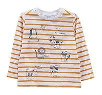 חולצה עם שרוולים ארוכים לפעוטות בהדפס פסים וחיות בצבע לבן/כתום