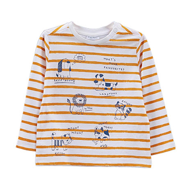 חולצה OVS בהדפס פסים וחיות לפעוטות - לבן/כתום
