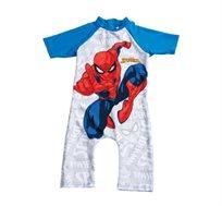 בגד ים אוברול שלם ספיידרמן לילדים - אפור וכחול