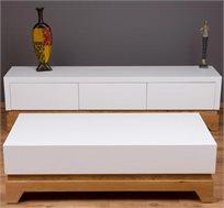 סט מזנון ושולחן סלון בעיצוב לבן קלאסי עם מנגנון טריקה שקטה