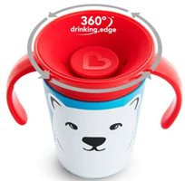 כוס הפלא 360° עם ידיות אחיזה 177 מ''ל וציורי חיות - דוב קוטב אדום