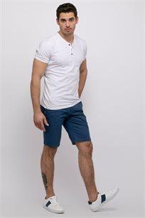 חולצת טי לייקרה מודפסת בשילוב כפתרה