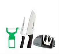 סט 4 חלקים למטבח הכולל סכין שף, סכין מדורגת, קולפן ומשחיז