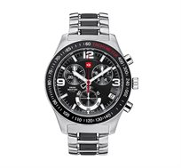 שעון כרונוגרף שוויצרי לגבר SWISS MILITARY בעיצוב ספורטיבי עשוי פלדת אל חלד
