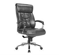 כיסא מנהלים דגם אורנוס סינכרוני מתאים לכבדי משקל מרופד PU שחור בעל מנגנון לכיוון גובה ומשענת ראש