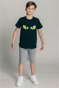 חולצת טריקו קצרה לילדים - שחור