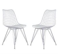 זוג כסאות מתכת בצבע לבן עם מושב מרופד דגם יעל