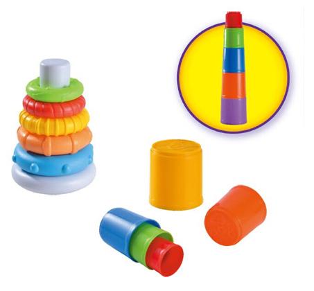 מארז הכולל 2 משחקים לפיתוח מיומנויות מוטוריות: מגדל טבעות ומגדל כוסות - תמונה 2
