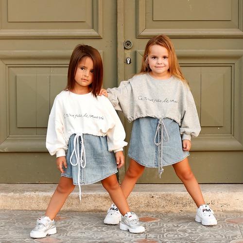 שמלת Oro לילדות (מידות 3-8 שנים) שמלת ג'ינס שילוב אפור