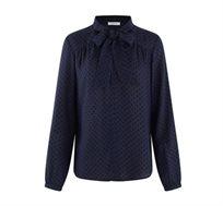 חולצה מכופתרת עם הדפס נקודות ושרוולים ארוכים לנשים בצבע כחול נייבי