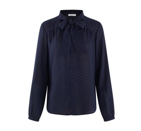 חולצה מכופתרת PROMOD עם הדפס נקודות לנשים - כחול נייבי