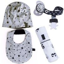 Babymitmit סט לתינוק Galaxy - כובע, סינר, חיתול טטרה וסרט למוצץ