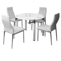 פינת אוכל עגולה מעוצבת מזכוכית וניקל, בעיטור מעודן- כולל 4 כסאות בריפוד דמוי עור איכותי ביותר