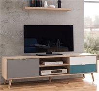 מזנון טלוויזיה עם רגליים מעץ מלא ושטחי אחסון  BRADEX