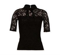 חולצת תחרה קצרה לנשים שקופה בחלק העליון MORGAN -בצבע לבחירה