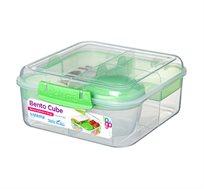 קופסא שקופה מחולקת 1.25 ליטר עם מיכל תוספות מסדרת TO GO של חברת Sistema במבחר צבעים