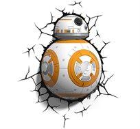 מנורת לד מלחמת הכוכבים רובוט BB-8 לעיצוב חדרי ילדים עם אפקט תלת מימדי חסכונית הפועלת על סוללות - משלוח חינם!