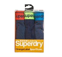 מארז 3 תחתוני בוקסר צמודים SUPERDRY ORANGE LABEL לגברים בצבע שחור