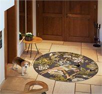 """שטיח צמר פרחוני מעוצב עגול מעבודת יד בגודל 150 ס""""מ משולב שלל צבעים"""
