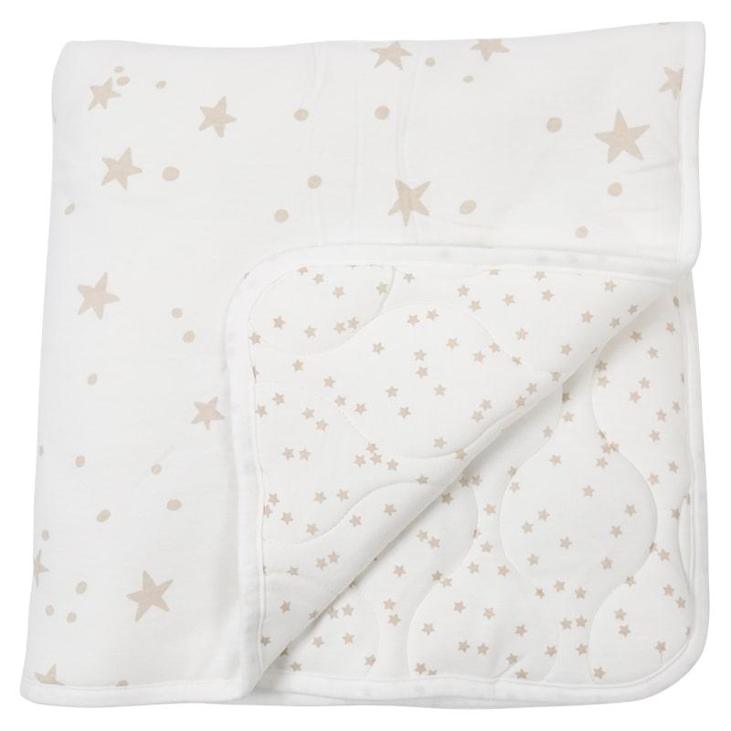 שמיכה קטנה עם מילוי 80*80, שמנת כוכבים חומים - מיננה