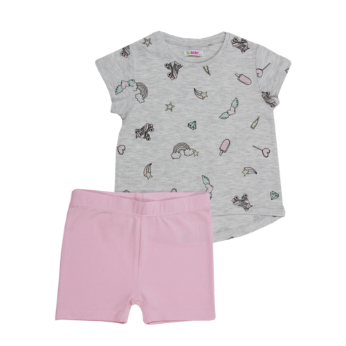 Minene חליפה (6-2 שנים) -אפור מכנס ורוד