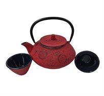 סט קומקום תה יפני מעוצב וזוג כוסות יציקת ברזל בשילוב אמייל GURO