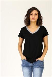 חולצה V סרוג - שחור -