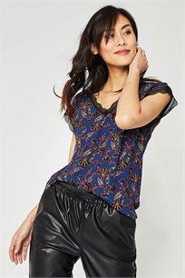 חולצה מודפסת עם עיטור קרושה Promod לנשים - כחול נייבי