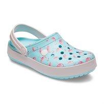 Crocs - נעלי קלוג פלטפורמה עם הדפס פלמינגו בצבע כחולורוד