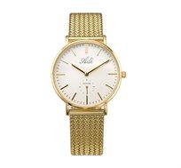 שעון יד לאישה עם רצועת רשת סרוגה וזכוכית ספיר לנשים בצבע זהב