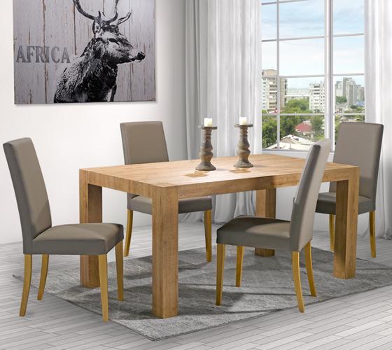 כיסא לפינת אוכל דגם טוני ביתילי מרופד בבד דמוי עור ורגלי בוק בצבע אלון טבעי תוצרת איטליה - משלוח חינם - תמונה 3