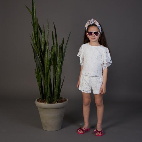 חליפת Oro לילדות (מידות 2-7 שנים) לבן תחרה