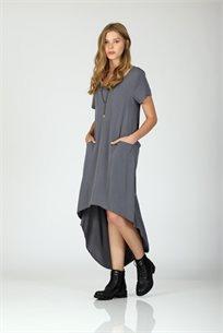 שמלה חושפת גב -אפור - CUBiCA