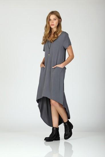 שמלה חושפת גב -אפור