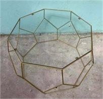 סט 2 שולחנות גאומטריים ב2 גדלים זכוכית שקופה עם ברזל בצבע זהב