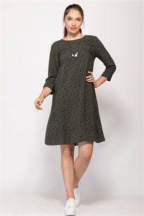 שמלה בגזרת A עם הדפס משולשים אול אובר
