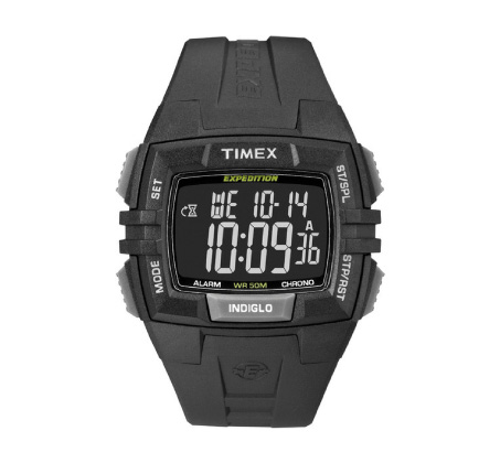 שעון דיגיטלי מלבני לגברים עם סטופר וטיימר - שחור