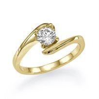 """טבעת אירוסין סוליטר זהב צהוב """"מוניק"""" 0.31 קראט בסגנון צעיר"""