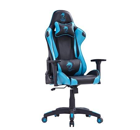 כיסא גיימרים DRAGON GAME CHAIR CEASAR BLUE כולל ציפוי כרית מבד מתנה - תמונה 2