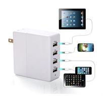 4 יציאות USB מתחברות לחשמל להטענת מספר מכשירים בו-זמנית