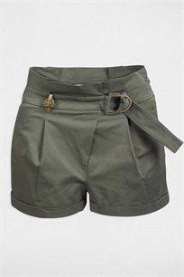 מכנס קצר וטרנדי לנשים בגזרה גבוהה MORGAN בצבע חאקי