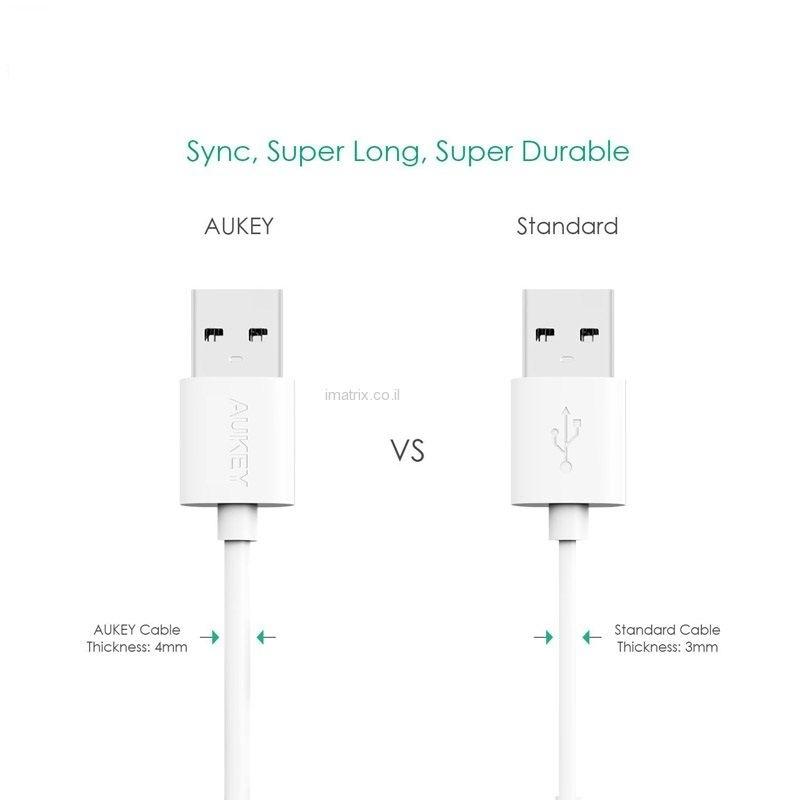 מארז שלישיית כבלים לטעינה וסנכרון מיקרו USB באורך 1.2 מטר מקורי של AUKEY תומך טעינה מהירה QC. - תמונה 2