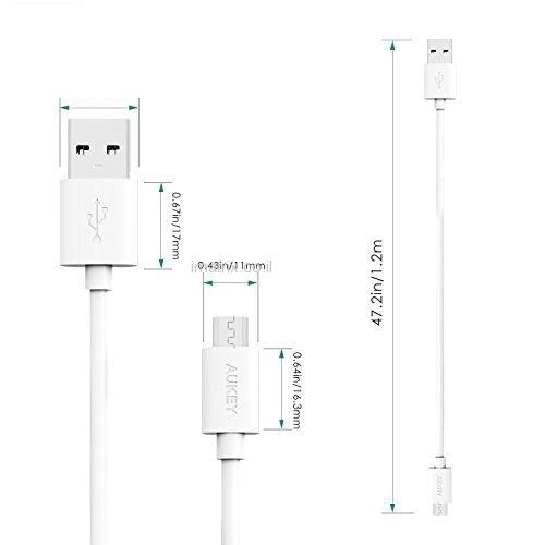 מארז שלישיית כבלים לטעינה וסנכרון מיקרו USB באורך 1.2 מטר מקורי של AUKEY תומך טעינה מהירה QC. - תמונה 3